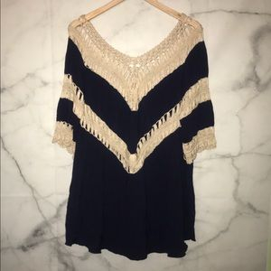 UMGEE crochet navy and cream tunic top